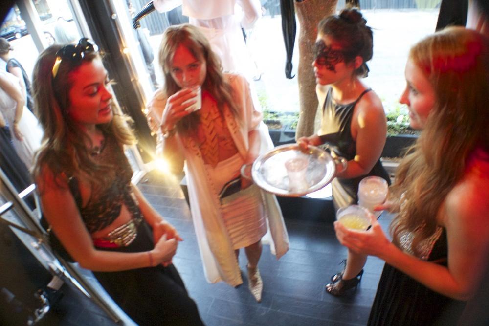 Model  Maya Donovan ,  Brandi Howe  (Designer of  Bowenero ), Actress  Lyssa Roberts , and Gloria.
