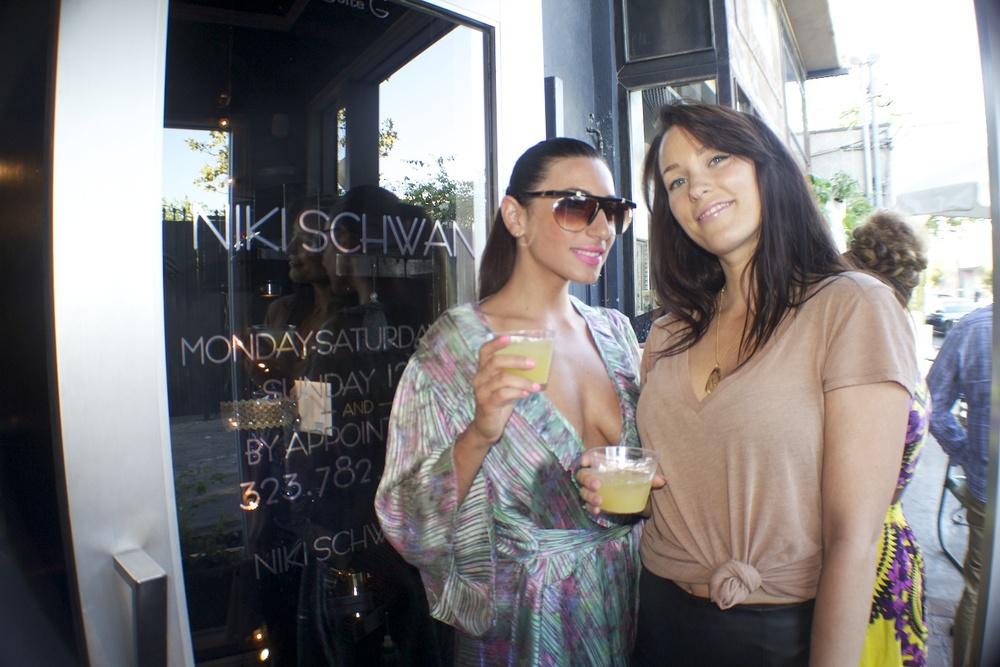 Makeup Artist  Sara Tintari  (wearing Vintage  Niki Schwan )and Friend.