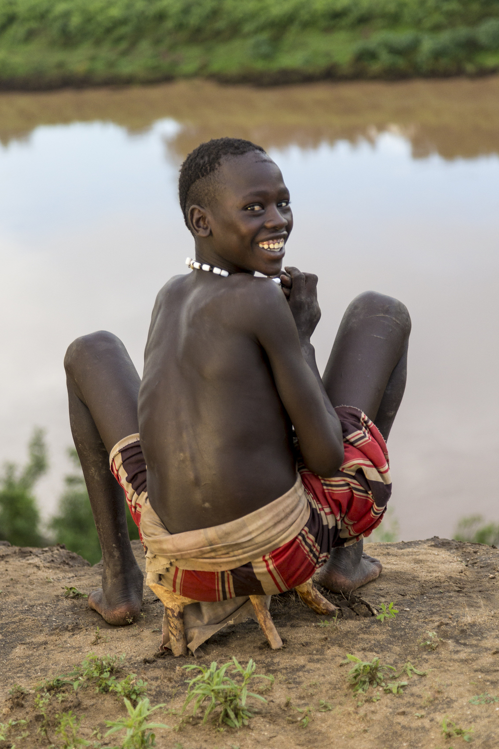 Kara man at the Omo River