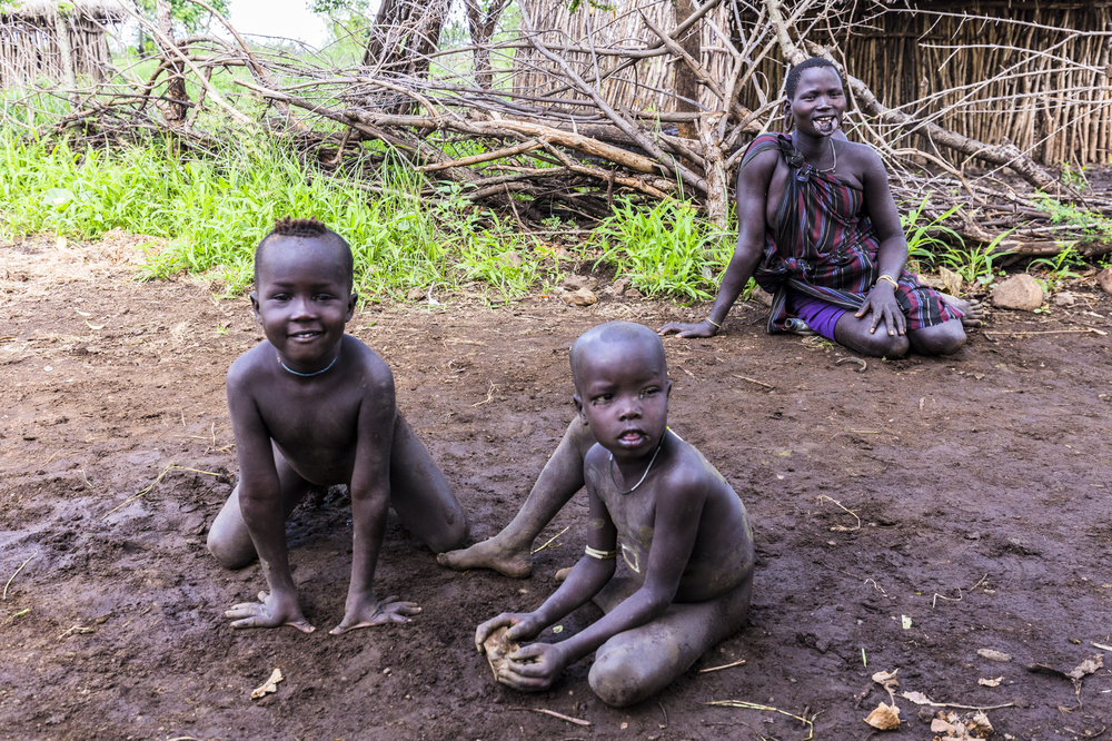 Mursi children, Omo Valley