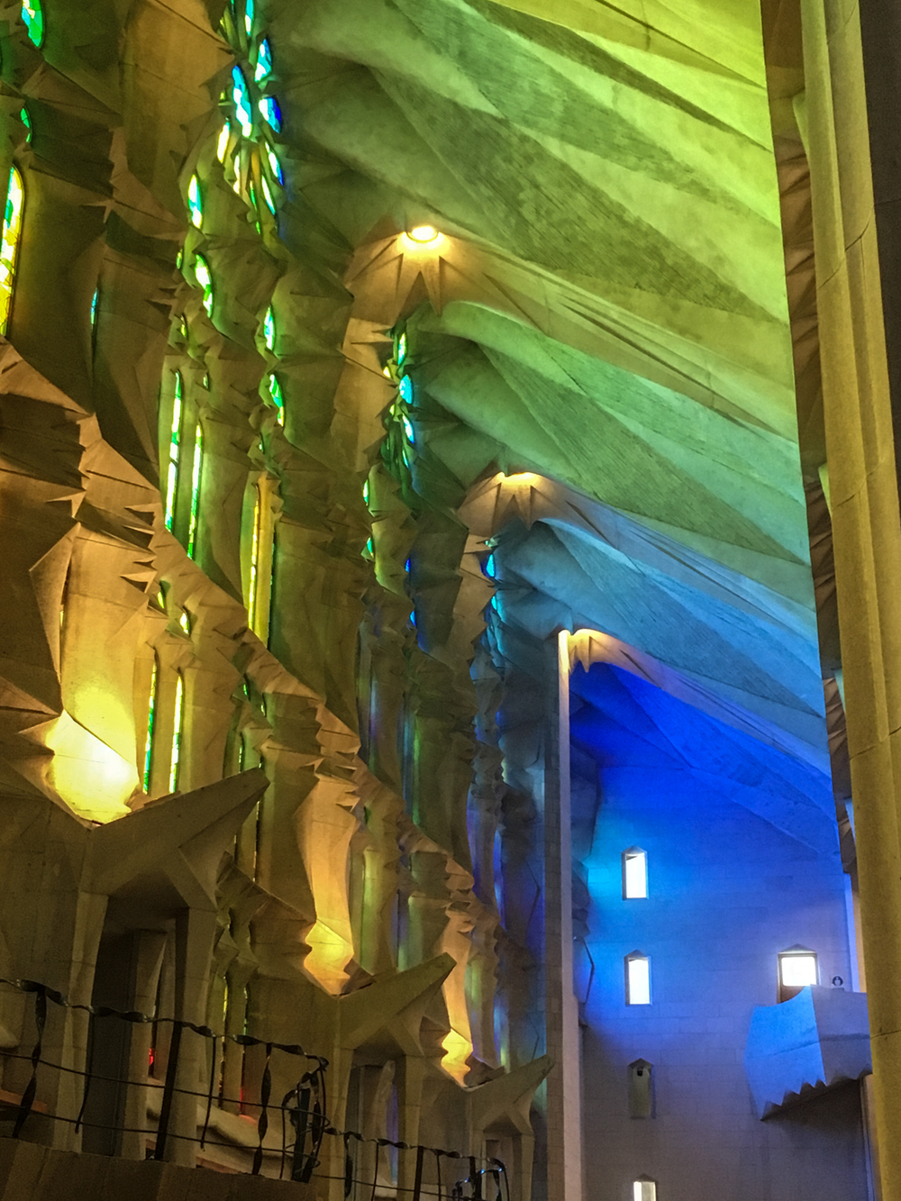 Stained glass light in the Sagrada Familia