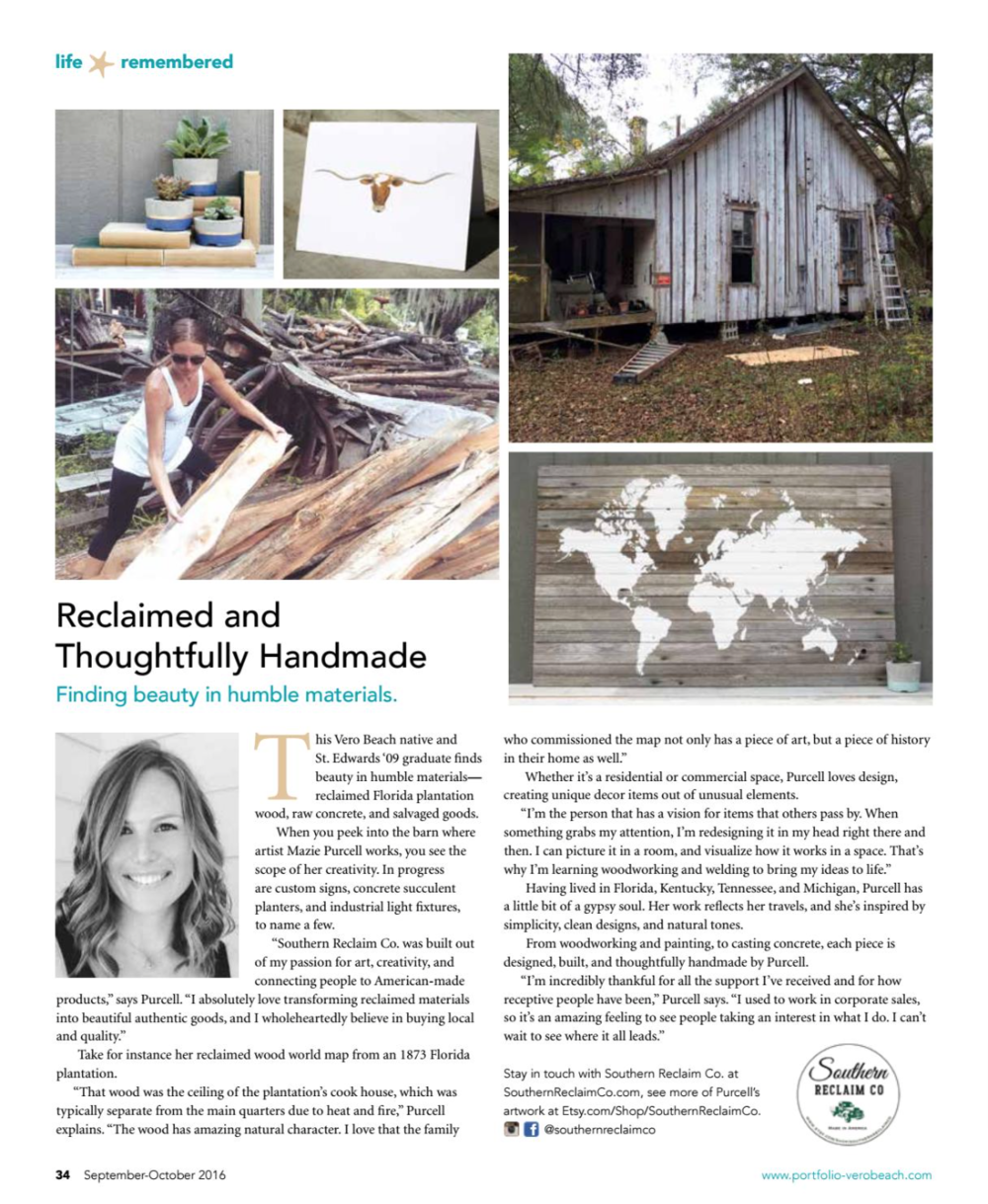 Vero Beach Portfolio Magazine:  Reclaimed and Thoughtfully Handmade