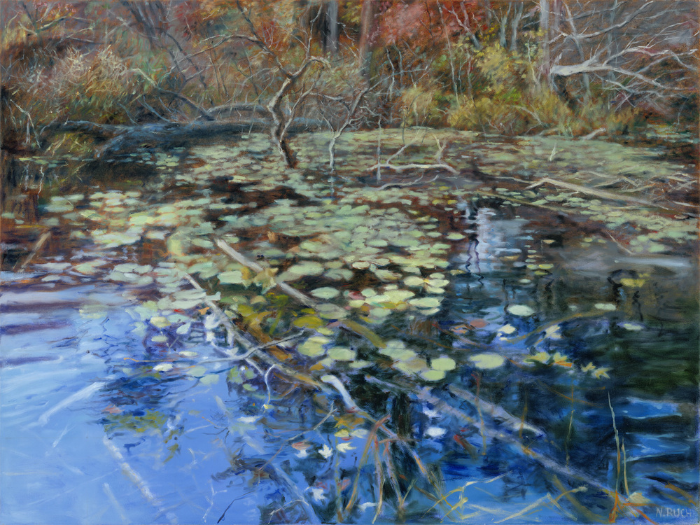 Blue Pond - diptych left side