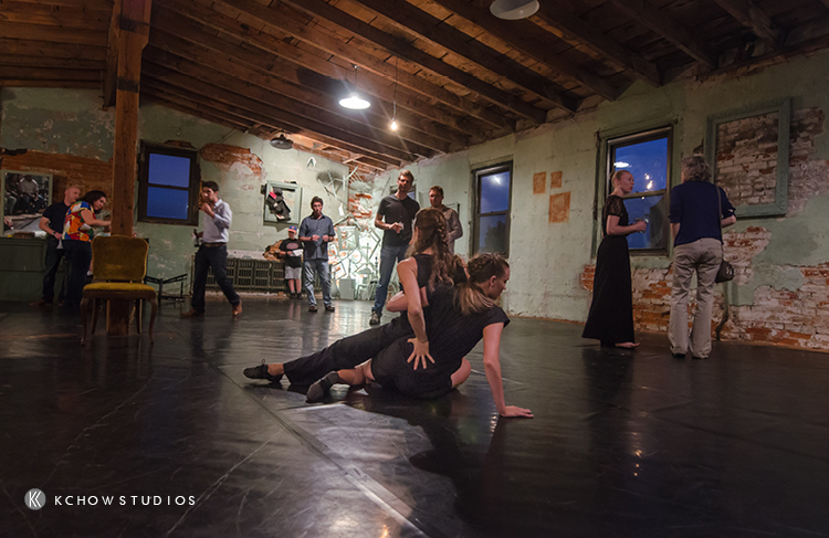 Opening duet as the audience explores the space | Photo of Jennifer Rose, Grace Stern, and Lindsay Browning (background)