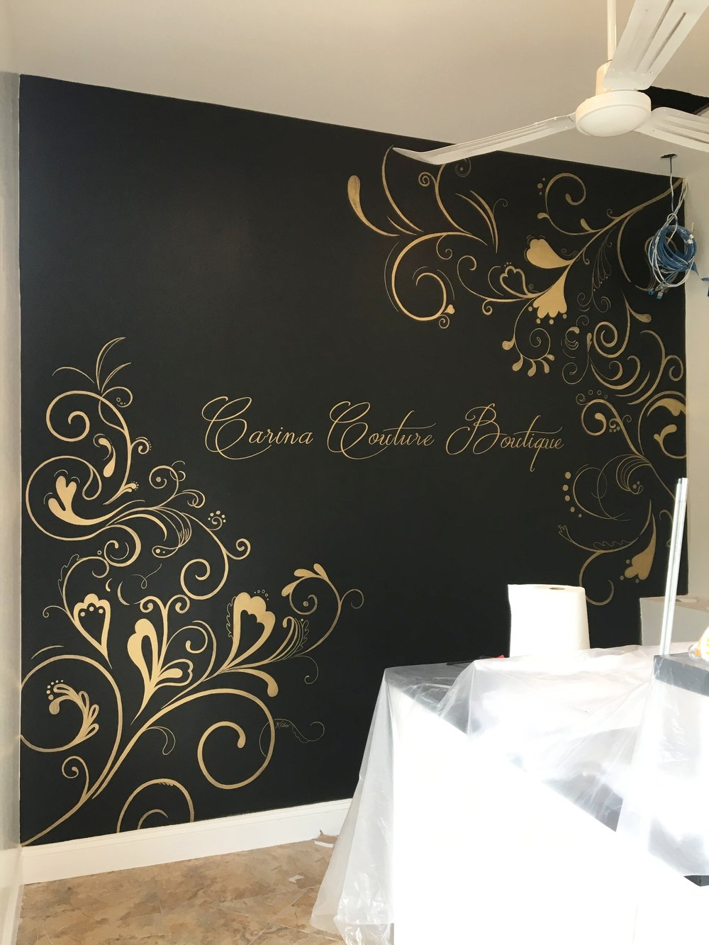 Hand painted flourishes & logo
