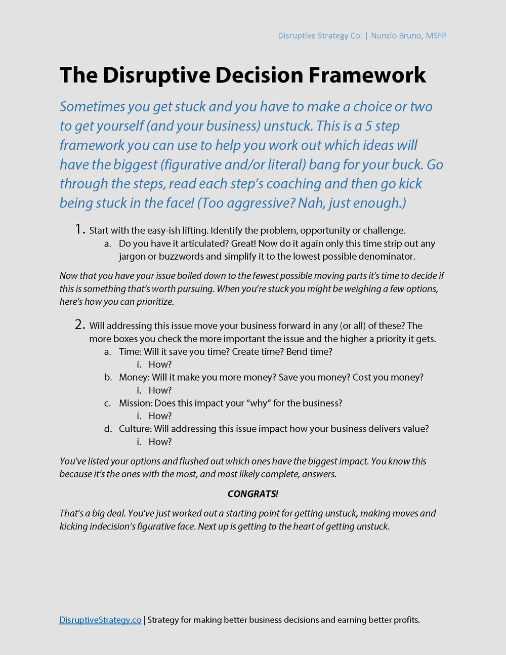 Page 1 of the Disruptive Decision Framework