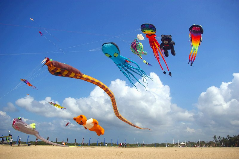 Kites Flying on Beach Near Seminyak