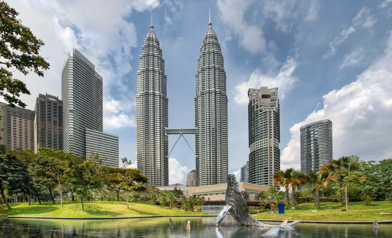 City skyline from KLCC Park in Kuala Lumpur