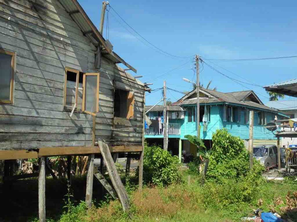 Kampung dwellings on stilts