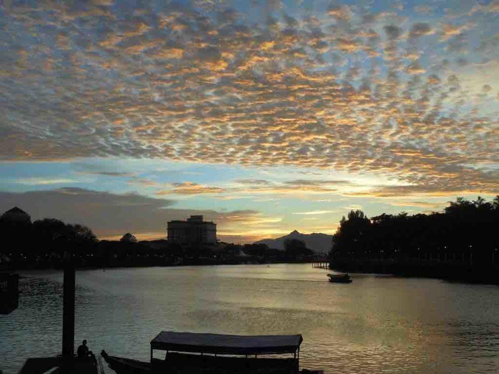 Sunset over Sarawak river