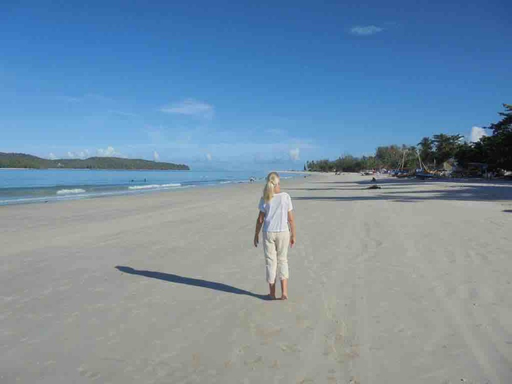 Morning beach walk on Cenang beach