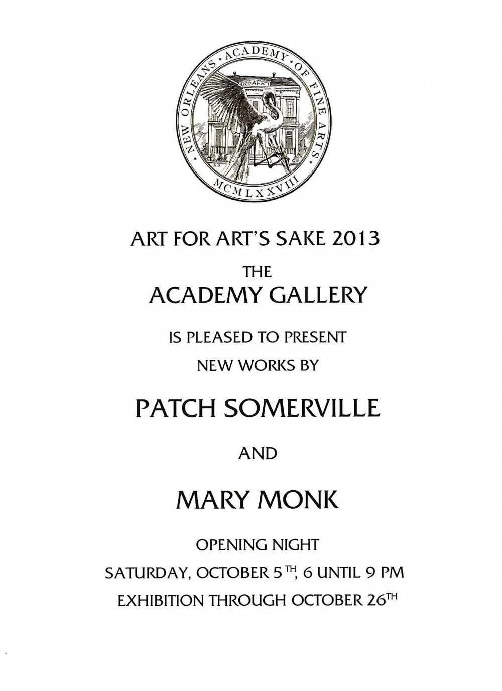 Art for Arts Sake Invitation