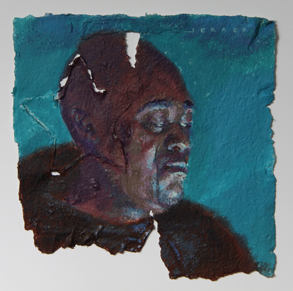 Computer Lit Face #27  Oil on Handmade Paper