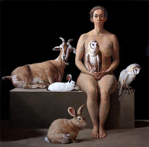 "Patricia Traub ""Rescuer with Owls, Rabbits, and a Feral Goat"" Oil on Panel, 12 x 12"" Courtesy Gallery Henoch, N.Y, N.Y"