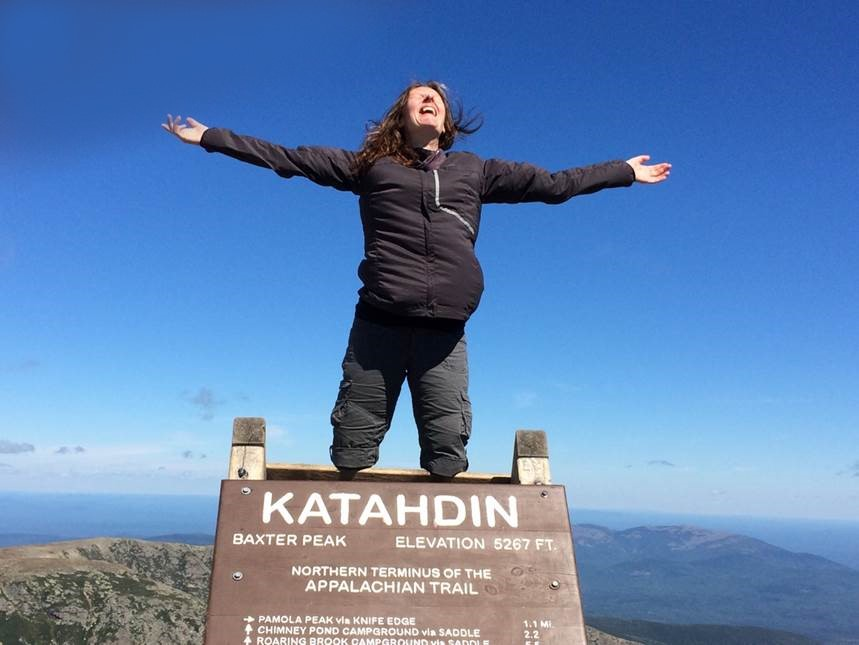 Kris on Mount Katahdin in Maine, the northern terminus of the Appalachian Trail