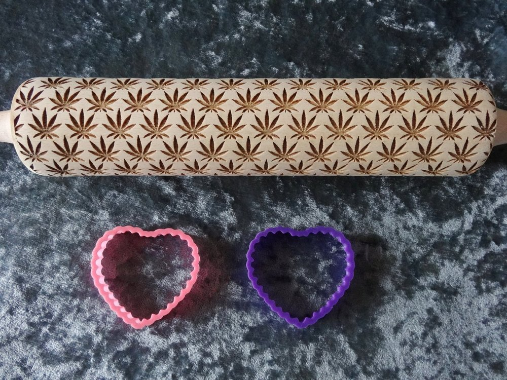 marijuana leaf rolling pin