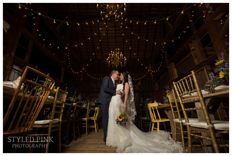 The most amazing barn, wedding, complete with long tables, chandeliers, string lights, and oh, the perfect couple! at Jack's Barn, in Oxford, nj.