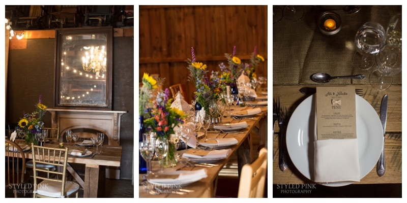 Love their custom menu, gorgeous florals, string lights, oh my! Details of Ali and Nando's wedding at Jack's Barn in Oxford, NJ.