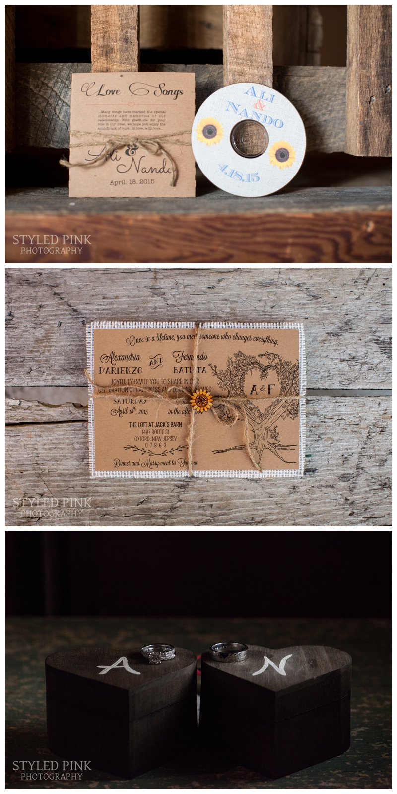 A mixed-tape style CD, a gorgeous wedding ring shot, and one lovely wedding invite- all of the elements that make a perfect wedding. Jack's Barn, NJ