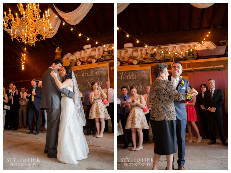 Ali and Nando share a joint parent dance with their parents at their wedding, Jack's Barn, Oxford, NJ.