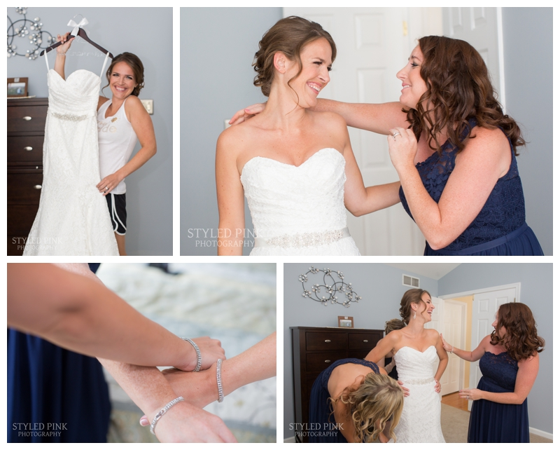 I love getting ready shots of the bride! What's more fun than putting on your wedding gown!? Katie's wedding gown is Morilee from Country Way Bridal.