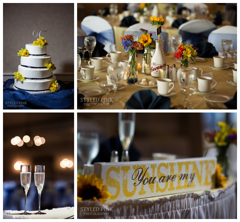 The reception decor included lots of sunflowers and vintage, glass bottles as table decor- so colorful!