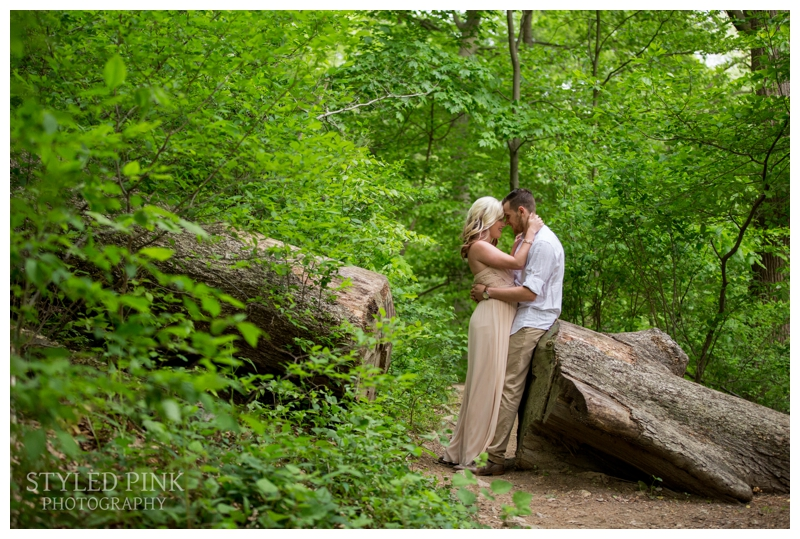When a tree is in your way, just cut a path through it.. because who doesn't want to stand in the middle for an adorable shot? The Wissahickon Trail was full of amazing little spots for Deana and Zane's engagement session.