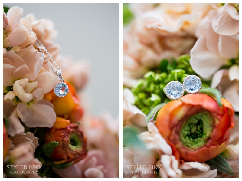 I love the peach and tangerine florals in Brittany's bouquet by Coventry Crossing Florist. They made a great backdrop to shoot her jewelry!
