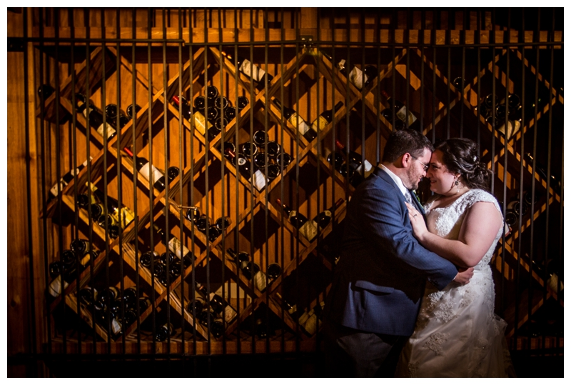 We headed down to the wine cellar at Auletto Caterer's for one more photo of the newlyweds!