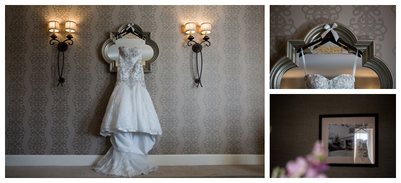 How gorgeous is Kelsey's gown hanging in the bridal suite at the Stockton Seaview Hotel?