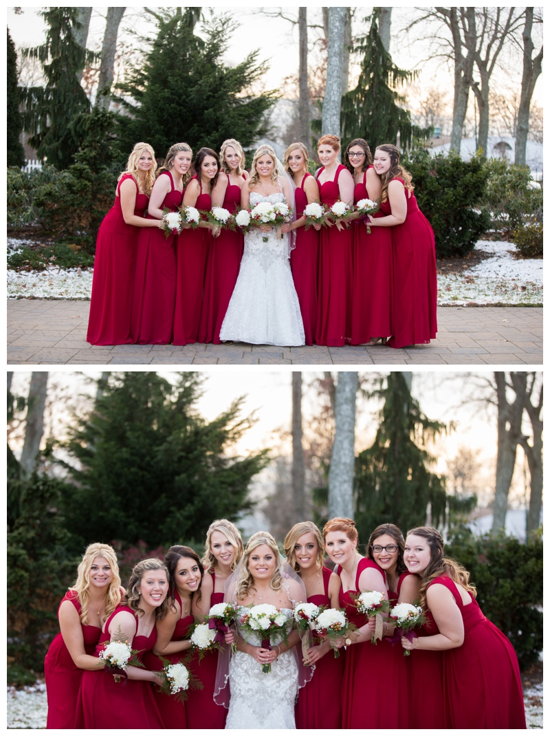 Kelsey and her gorgeous girls, just as the sun was setting. I love that there was a dusting of snow for their December wedding at Stockton Seaview Hotel.