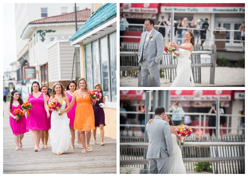 Every bride needs to be surrounded by her squad on the way to meet her groom for the first time on the wedding day. I LOVE the onlookers from the boardwalk!