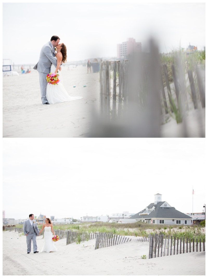 Jessica and Kevin walk along the beach in Ocean City, New Jersey for some stunning bride and groom portraits.