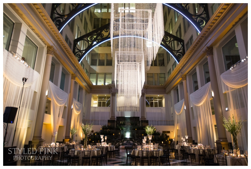 The classic Atrium at Curtis Center was the perfect backdrop for their reception.