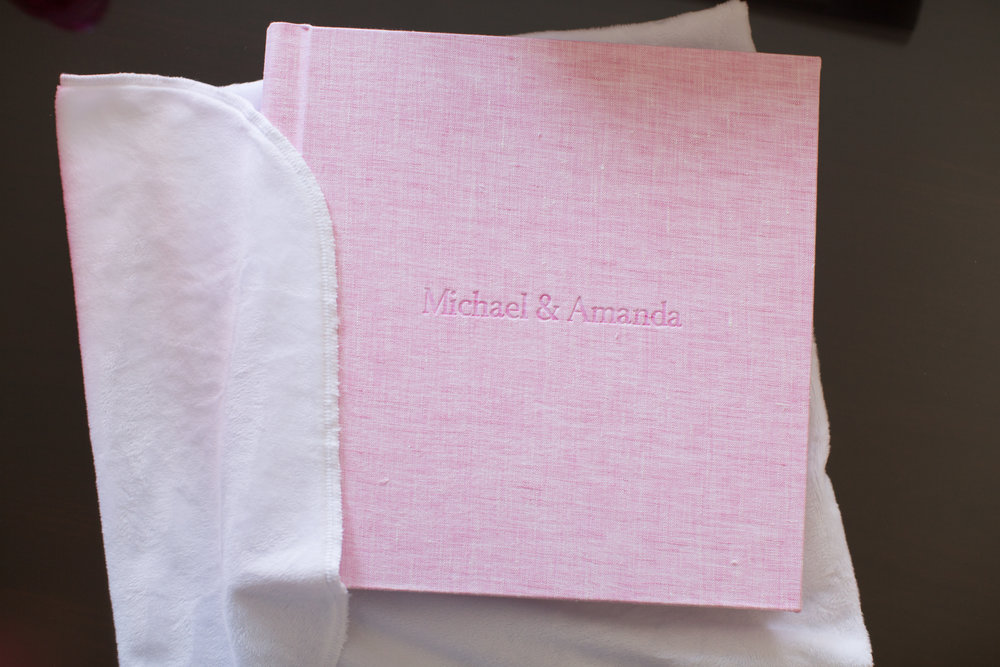 One of my absolute favorite details about this album is that it is personalized with the bride and groom's name- and I love the font! The album comes in a really soft wrap to protect it- I only wish my pillow was as soft.