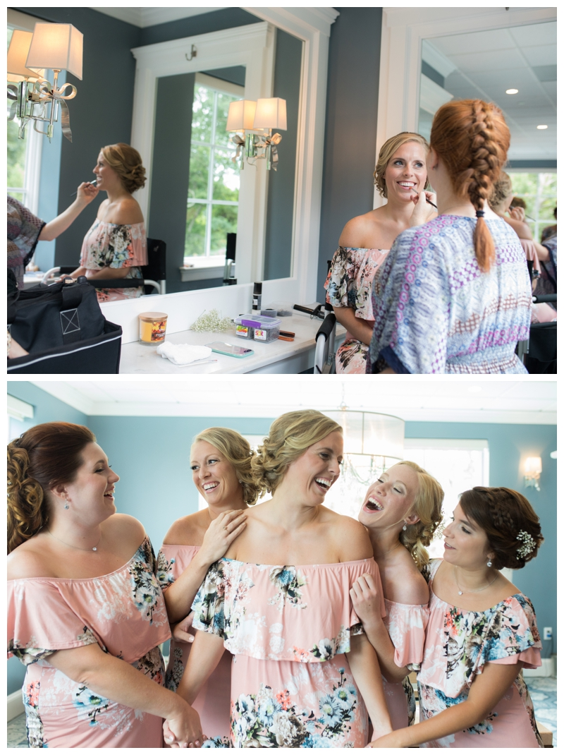 Anna and her bridesmaids wore the cutest pink dresses while they were getting ready. See all of those smiles? 100% genuine. all. day. long.