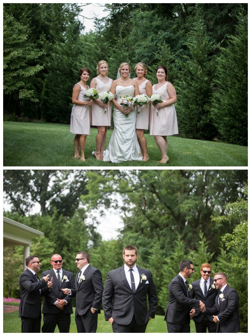 The bridesmaids and the groomsmen outside of the Bradford Estate. It was a HOT one, but you would never know by how awesome everyone was.