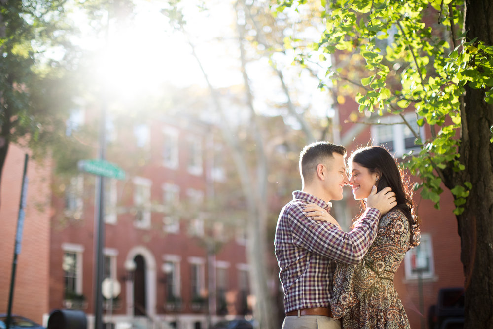 Mallory and Steve find the most gorgeous sunlight walking down the streets of Philadelphia.