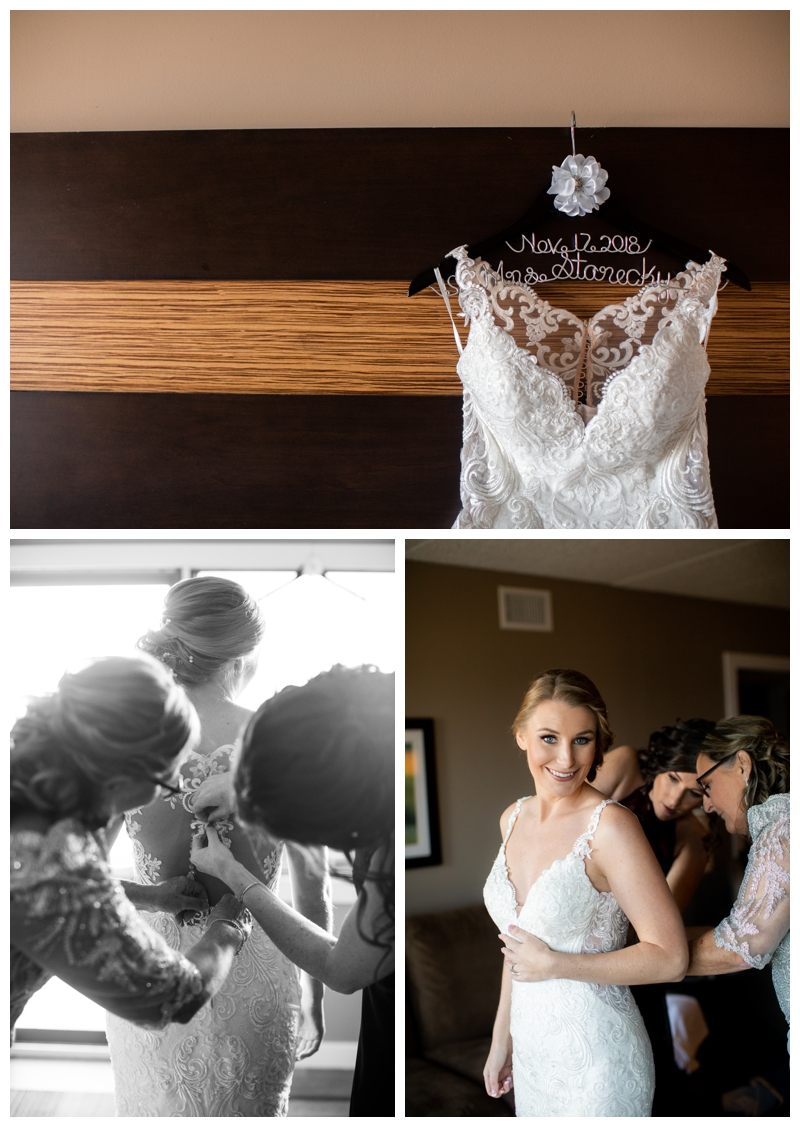 Amy and her bridesmaids got ready on-site at the Windrift Hotel with the perfect window light for Amy's bridal portraits.