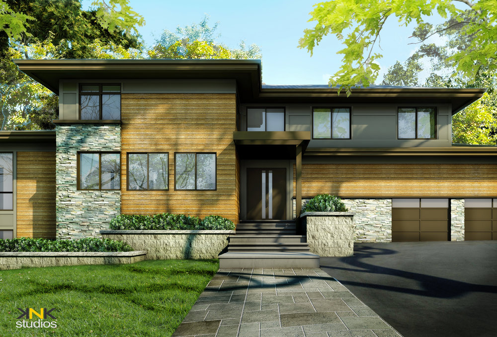 Rendering, showing the front entrance.