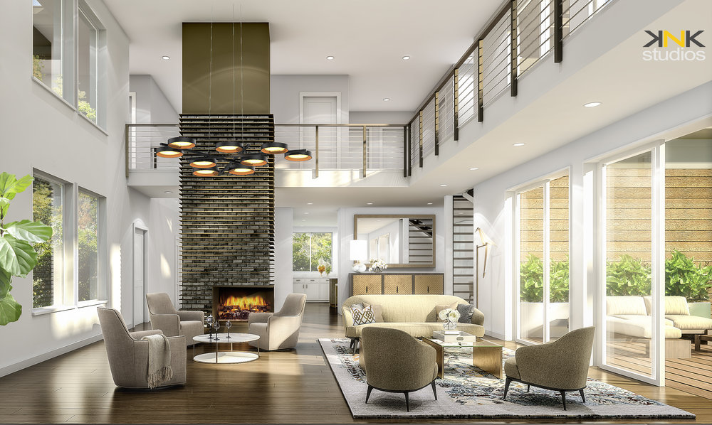 Rendering showing the two story open, living room.