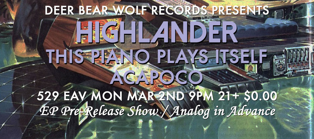 Highlander release their new EP, Weird Future, at 529 tonight, Monday March 2.