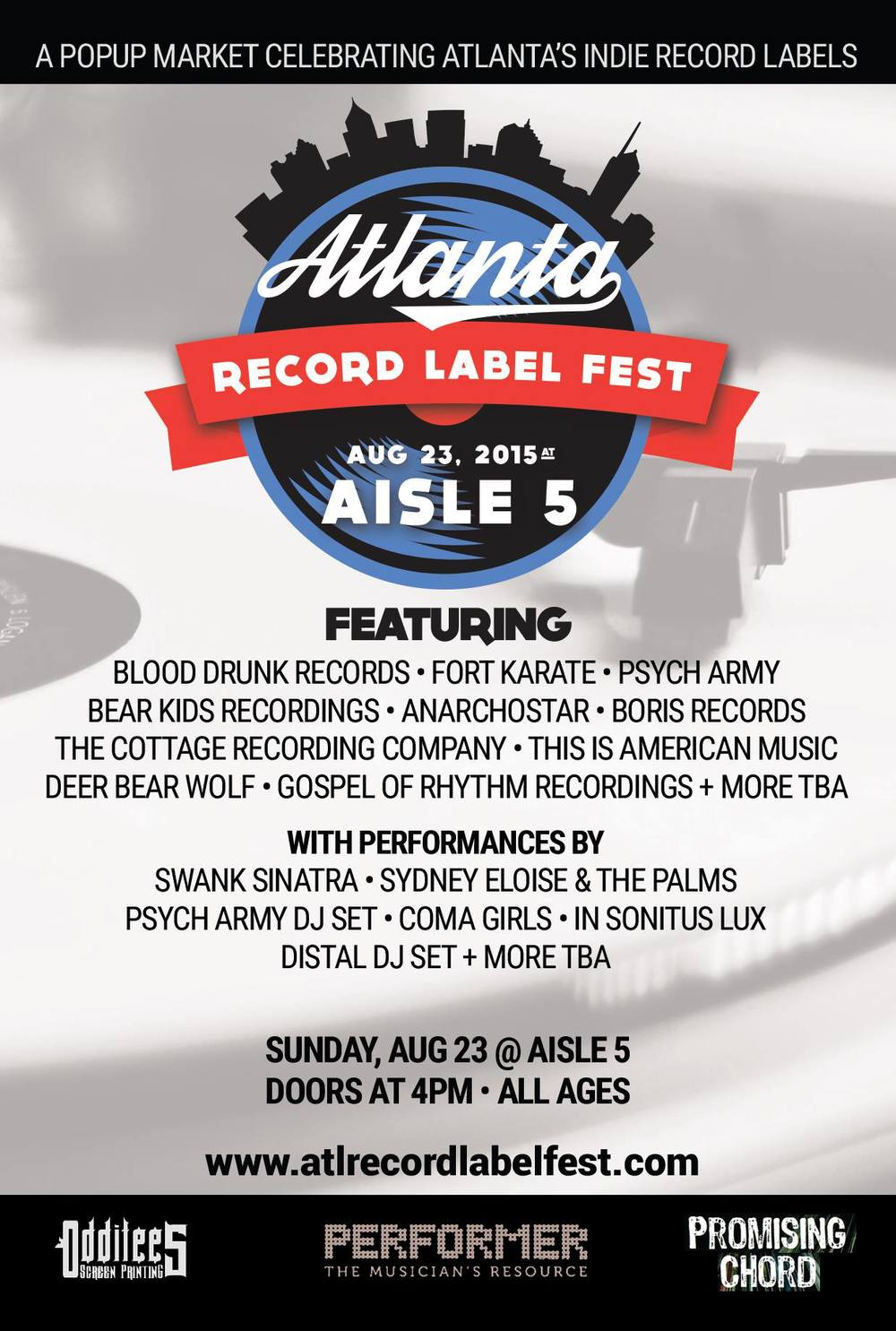 Atlanta's record labels are coming together to celebrate the local music scene this Sunday at Aisle 5.