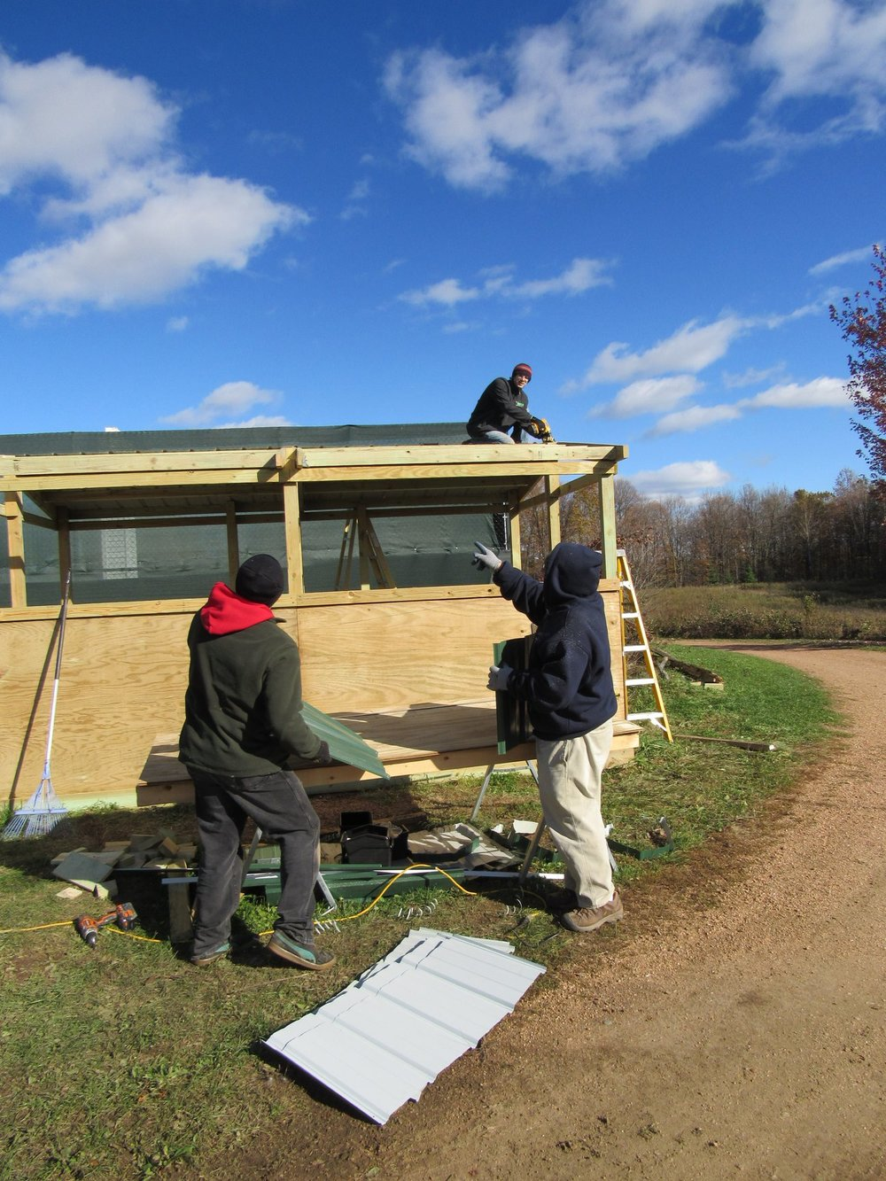 The last enclosure to be finished...NOW finally finished and housing education birds. Thank Greg Toon, Jed Krieger, Greg Russ