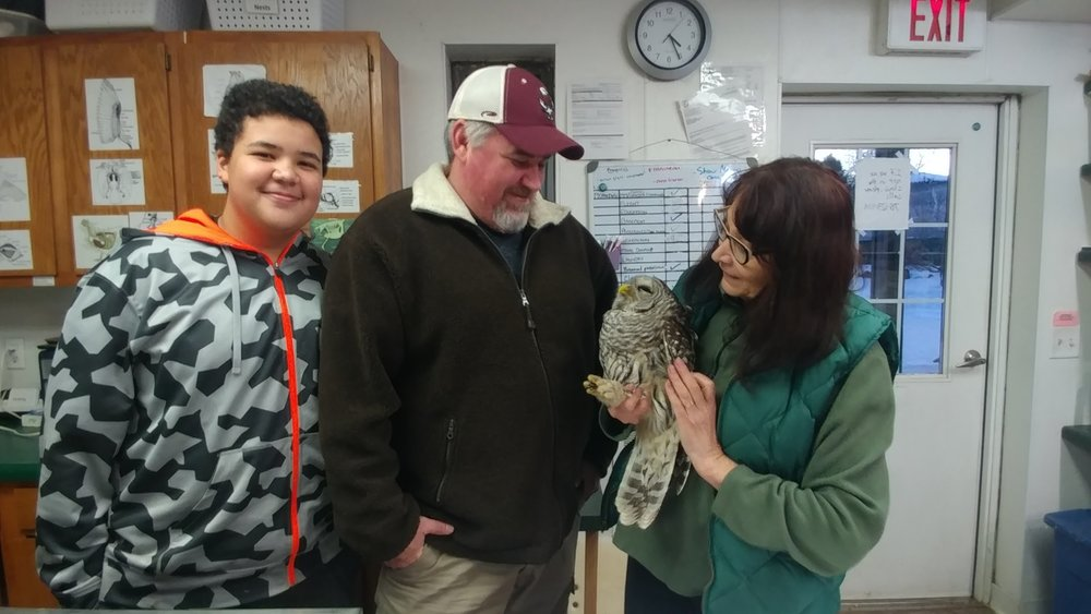 Danny and Owen get to visit with the Barred Owl at the REGI clinic just before her release back to the wild.