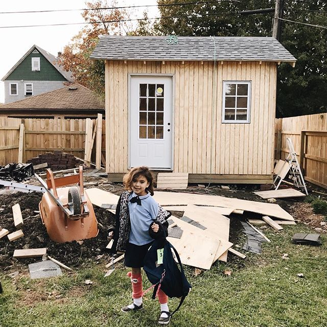 Our backyard is a hot mess but the shed is almost done 🏡. Also crazy sock day at school for this girl. #backyardproject #shed . . . . . . . . #kindredmemories #childhoodunplugged #simplepleasures #livesimply #themagicofchildhood #simplelife #littlestoriesofmylife #thatsdarling #treasuringlittlememories #lovethelittlethings #thepursuitofjoy #thingsiwanttoremember