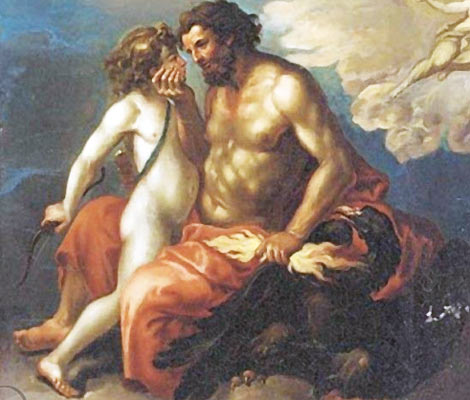 Art depicting Zeus and his boy toy Ganymede