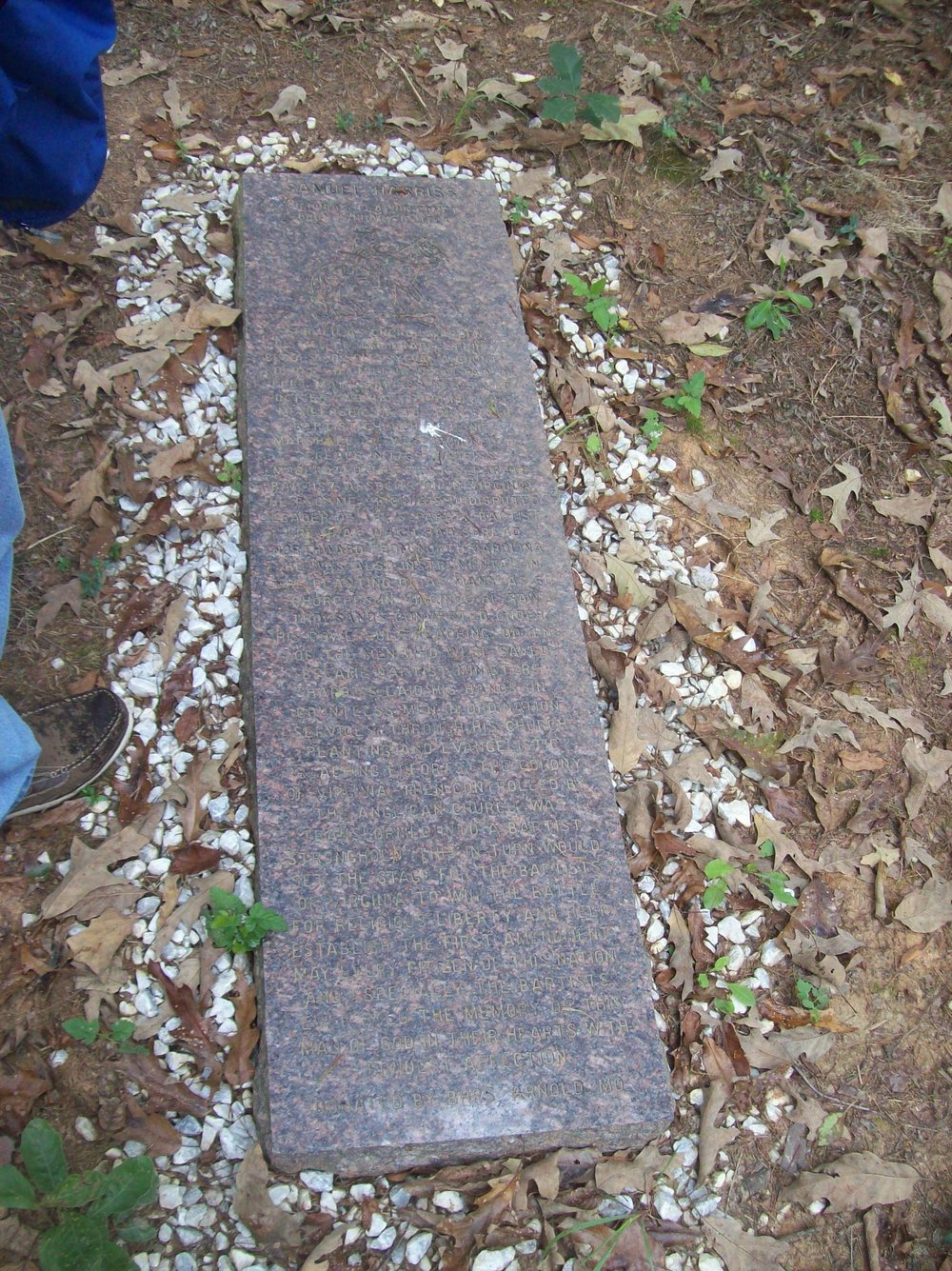 Grave of Samuel Harriss- Virginia's greatest evangelist
