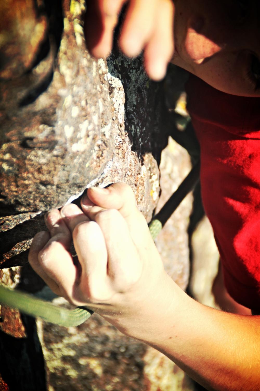Jackson at Practice Rock, Bozeman Climbing Camp 2013