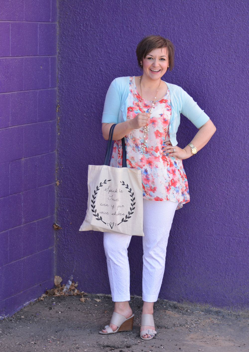 Sweater: Target // Shirt: TJMAXX // Pants: Loft // Sandals: TJMAXX // Necklace: Charmig Charlies // Tote bag  found here